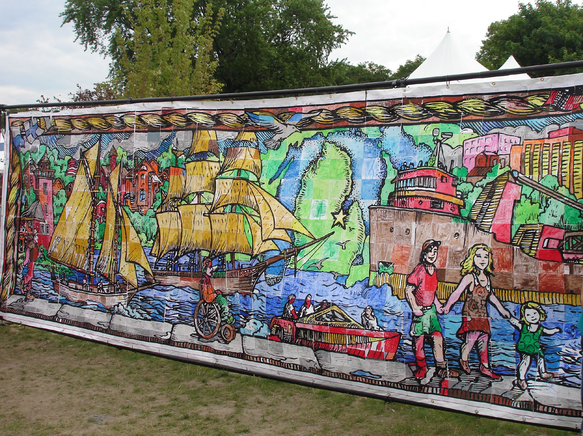 Line Art Mural : The monster mural murals in line art squares